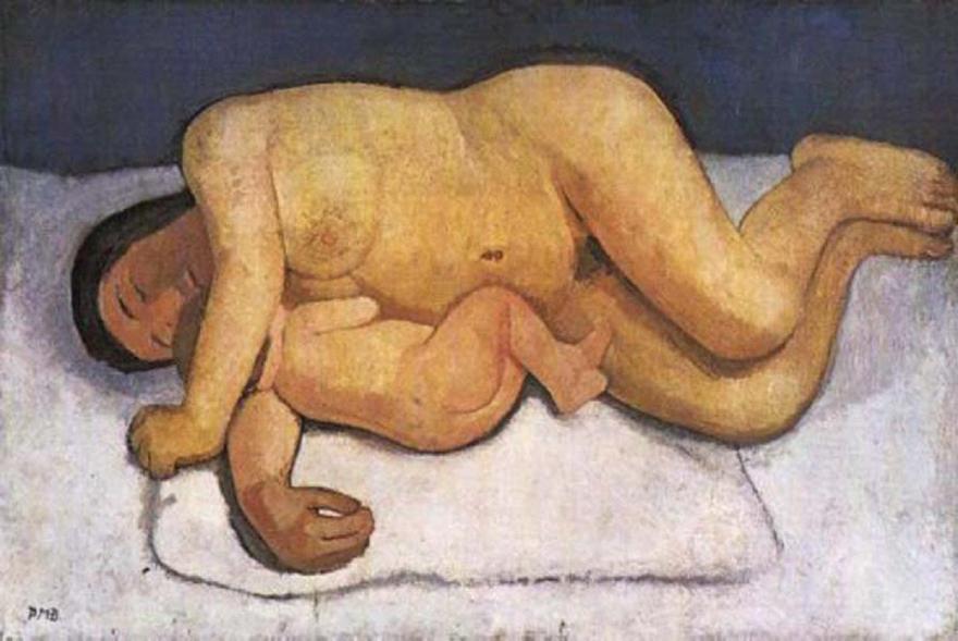 Paula Modersohn-Becker.Mother and Child Lying Nude. 1907.